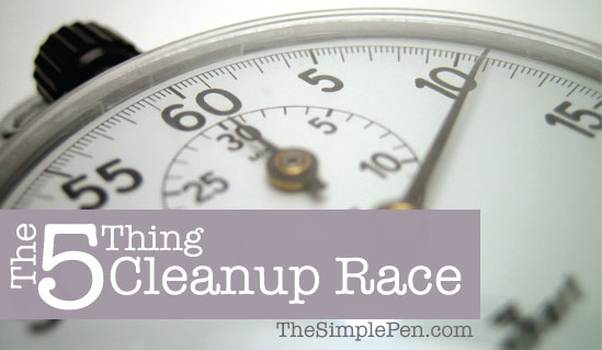 Play The 5 Thing Cleanup Race with your kids & see how quickly the house gets cleaned up! || TheSimplePen.com