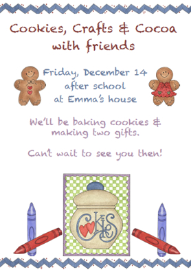 Cookies Crafts and Cocoa Party Invitation