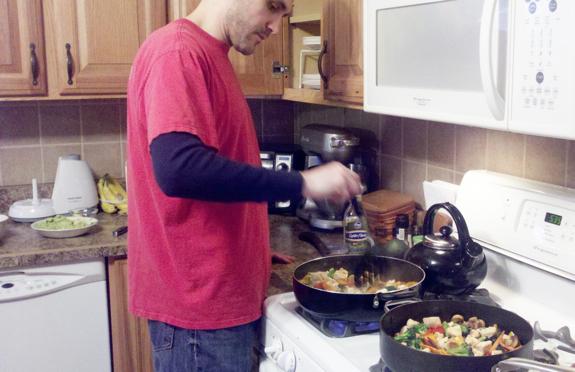 Jason Cooking Dinner