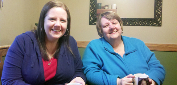 Jennifer and Mom Enjoying Tea
