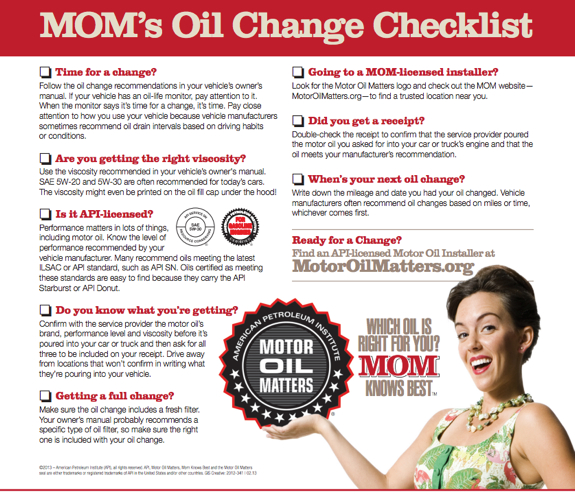 MOM's Oil Change Checklist