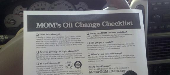 Moms Oil Change Checklist