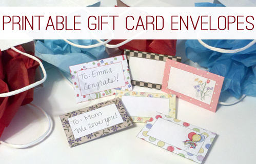 Printable Gift Card Envelopes