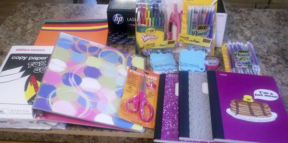 School Supplies from Office Depot