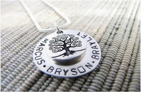 Stamped Family Necklace