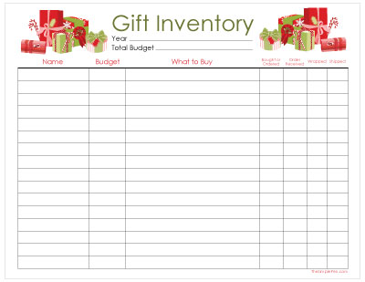 Printable Christmas Gift Inventory || TheSimplePen.com