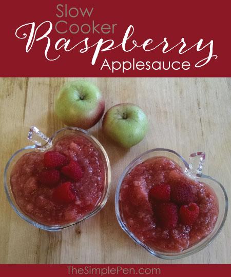 Slow Cooker Raspberry Applesauce    TheSimplePen.com